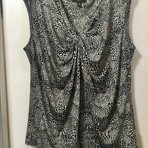 Dana Buchman Black And White Cheetah Print Top 1X